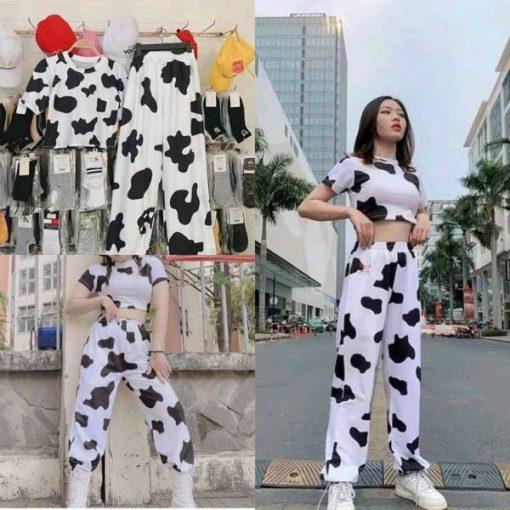 Áo croptop bò sữa vải cotton cực hot