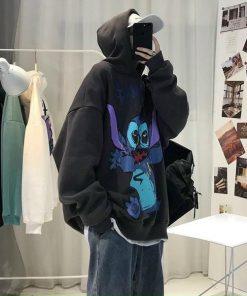 Áo hoodie in hình Stitch có nón 2 lớp vải thun nỉ