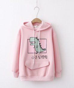 Áo hoodie in hình chú khủng long xanh