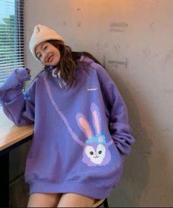 áo hoodie nỉ in hình thỏ