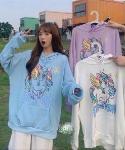 Áo hoodie nữ in hình chú ngựa Pony Unicorn siêu dễ thương