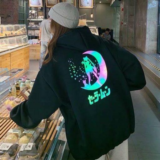 Áo hoodie phản quang in hình thuỷ thủ mặt trăng siêu cute