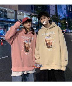 áo hoodie in hình ly trà sữa