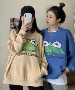 Áo sweater nữ in hình ếch dễ thương chất liệu nỉ siêu mịn