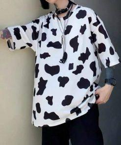 Áo thun tay lỡ bò sữa vải cotton đẹp