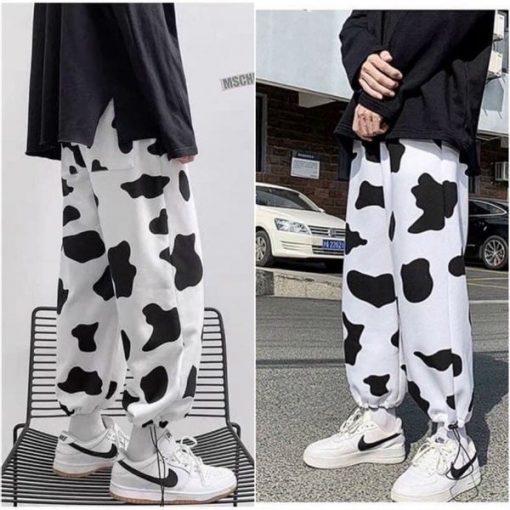 Quần jogger loang bò sữa vải nỉ siêu mát