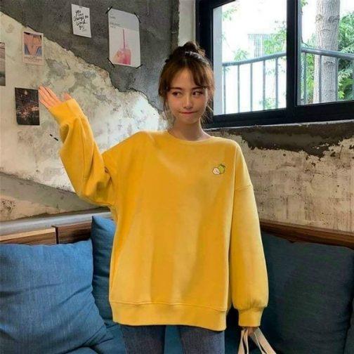 Áo sweater nữ chất thun PE được thêu hình trái cây siêu cute