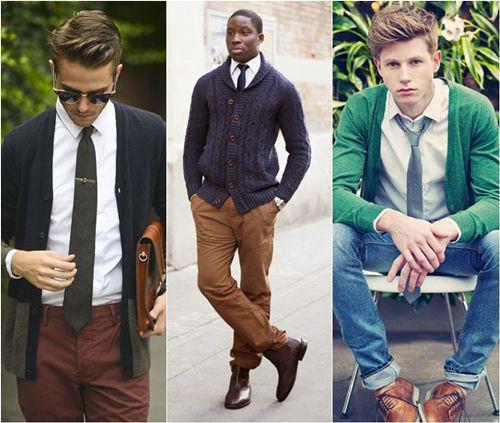biến tấu đa dạng phong cách cho chàng với áo cardigan