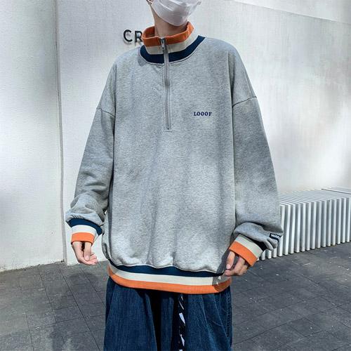 áo sweater nam form rộng có khoá kéo giúp chàng hack dáng