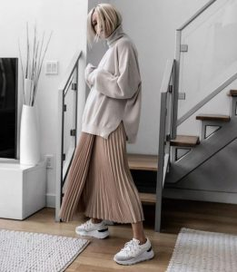 áo sweater nữ form rộng phối chân váy dài