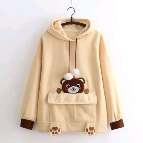 Áo hoodie gấu nâu dễ thương, cute thun nỉ mềm mịn