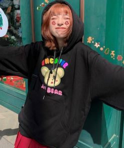 Áo hoodie in chữ UNCOVER hình chú gấu dễ thương trẻ trung