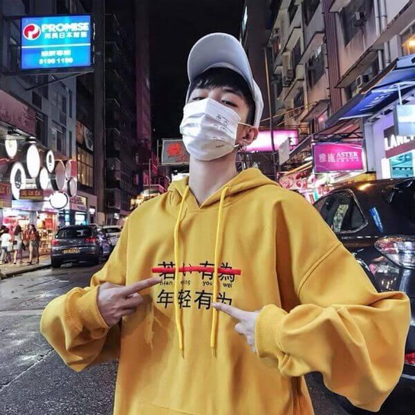 Áo hoodie nam có in chữ chất liệu vải nỉ mềm mại trẻ trung