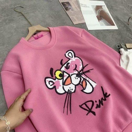 Áo sweater báo hồng cổ tròn cực hot với chất thun nỉ mềm mịn