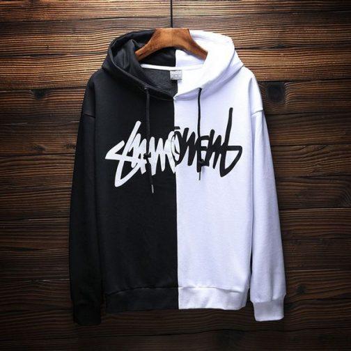 Áo hoodie đen trắng độc lạ vải nỉ siêu bền và phong cách