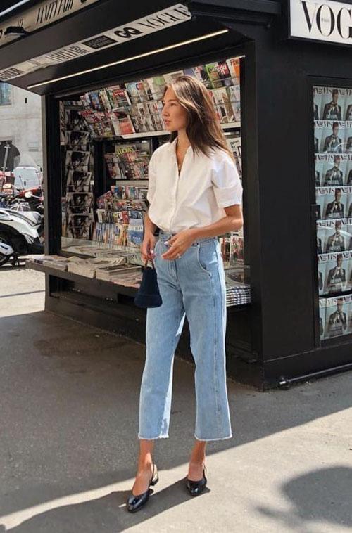 cách phối đồ đơn giản trẻ trung khi kết hợp cùng áo sơ mi trắng và quần jean ống cao