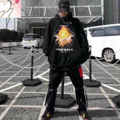 Áo hoodie in hình bàn tay ngọn lửa Fire Ball cực cool ngầu