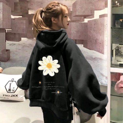 Áo hoodie nữ vải thun nỉ in hình bông mai cực đẹp
