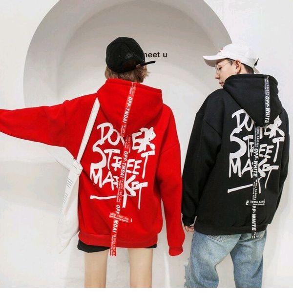 Áo hoodie vải thun nỉ có in chữ tiếng Anh phía sau phong cách đường phố cực chất
