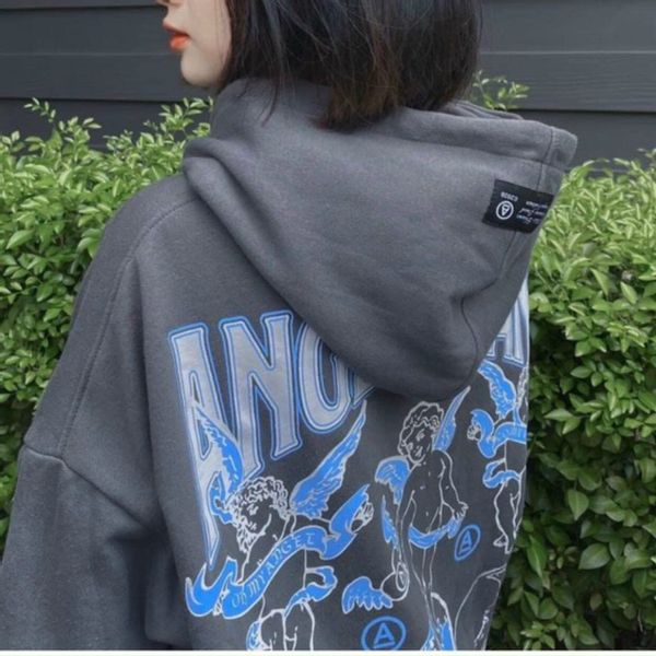 Áo hoodie vải thun nỉ in chữ ANGEL LAND cực năng động trẻ trung