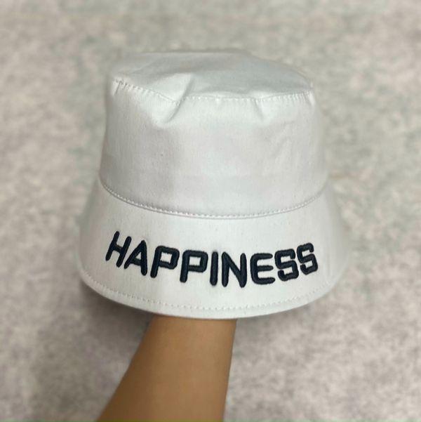 Nón bucket unisex chất liệu vải kaki có thêu chữ HAPPINESS nhiều màu sắc